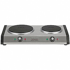 "12 1/4"" x 19-3/4"" x 3-1/4"" 1800 Watts Double Burner"