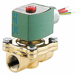 "120VAC Brass Solenoid Valve with Manual Operator, Normally Closed, 3/4"" Pipe Size"