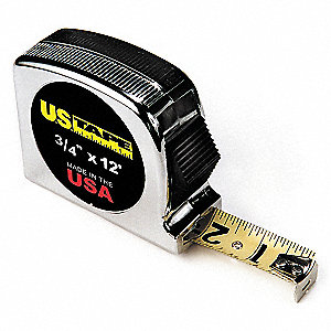 Tape Measure,3/4 In x 12 ft,Chrome,Ft/In