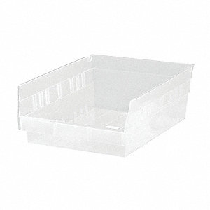 "Shelf Bin, Clear, 4""H x 11-5/8""L x 8-3/8""W, 1EA"