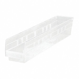 "Shelf Bin, Clear, 4""H x 23-5/8""L x 4-1/8""W, 1EA"
