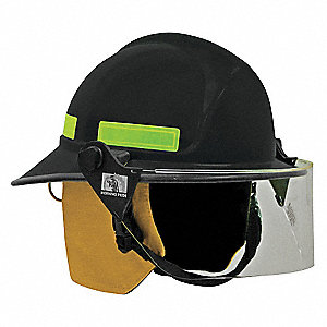Black Fire Helmet, Shell Material: FYR-Glass Shell, 8pt. Ratchet Suspension, Fits Hat Size: 6 to 9-1