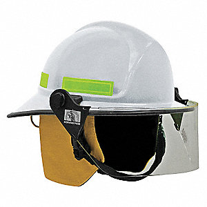 White Fire Helmet, Shell Material: FYR-Glass Shell, 8pt. Ratchet Suspension, Fits Hat Size: 6 to 9-1