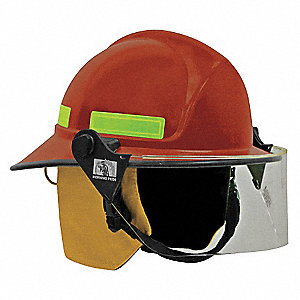 Red Fire Helmet, Shell Material: FYR-Glass Shell, 8pt. Ratchet Suspension, Fits Hat Size: 6 to 9-1/2