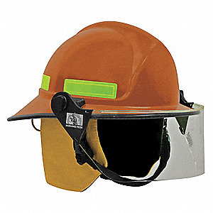 Orange Fire Helmet, Shell Material: FYR-Glass Shell, 8pt. Ratchet Suspension, Fits Hat Size: 6 to 9-