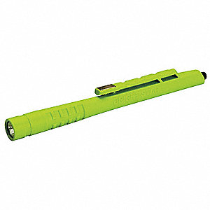 LED Industrial Penlight, Nylon, Maximum Lumens Output: 20, High Visibility Green, 6.50""