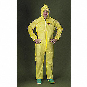Hooded Chemical Resistant Coveralls with Elastic Cuff, Yellow, 2XL, ChemMax® 1