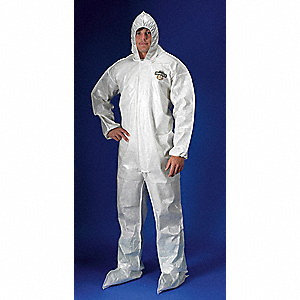 Hooded Coverall w/Boots,White,M,PK12