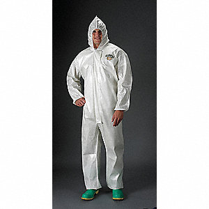Hooded Chemical Resistant Coveralls with Elastic Cuff, White, XL, ChemMax® 2