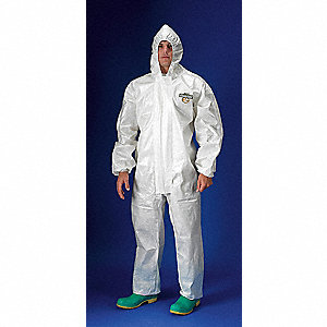 Hooded Chemical Resistant Coveralls with Elastic Material, White, L