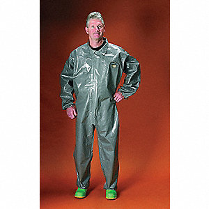 Collared Chemical Resistant Coveralls with Elastic Cuff, Gray, XL, ChemMax® 3