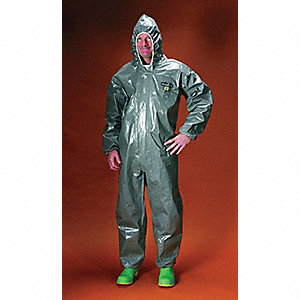 Hooded Chemical Resistant Coveralls with Elastic Cuff, Gray, M, ChemMax® 3