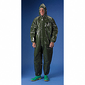 Hooded Chemical Resistant Coveralls with Elastic Cuff, Green, XL, ChemMax® 4