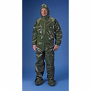 Hooded Chemical Resistant Coveralls with Elastic Cuff, Green, L, ChemMax® 4