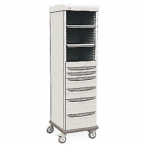 "Antimicrobial Polymer Supply Cabinet, 22-3/4""W x 25""D x 78-1/2""H, Open Face Cabinet Doors, Taupe"