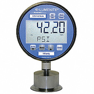 "0 to 1000 psi Digital Sanitary Pressure Gauge with Transmitter, 3"" Dial, 1-1/2"" Triclamp Connection,"