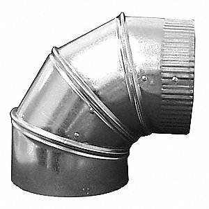 "Galvanized Steel 90 Degree Elbow, 6"" Duct Fitting Diameter, 9"" Duct Fitting Length"