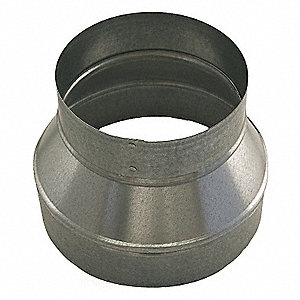 "Galvanized Steel Reducer, 7"" x 5"" Duct Fitting Diameter, 6"" Duct Fitting Length"