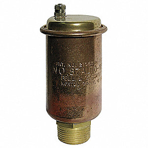 "150 psi Automatic Air Vent, Brass, 3/4"" MNPT, 1/2"" FNPT Inlet"