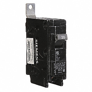 Bolt On Circuit Breaker, 20 Amps, Number of Poles:  1, 120/240VAC AC Voltage Rating