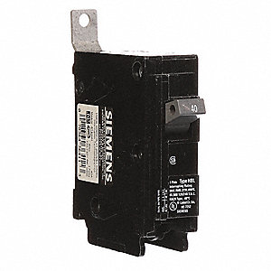 Bolt On Circuit Breaker, 40 Amps, Number of Poles:  1, 120/240VAC AC Voltage Rating