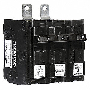 Bolt On Circuit Breaker, 50 Amps, Number of Poles:  2, 120/240VAC AC Voltage Rating