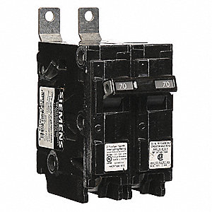 Bolt On Circuit Breaker, 70 Amps, Number of Poles:  2, 120/240VAC AC Voltage Rating