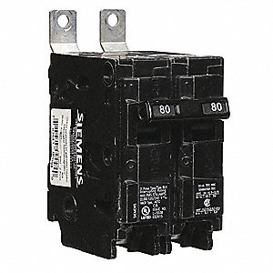 Bolt On Circuit Breaker, 80 Amps, Number of Poles:  2, 120/240VAC AC Voltage Rating