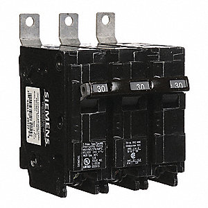 Bolt On Circuit Breaker, 30 Amps, Number of Poles:  3, 240VAC AC Voltage Rating