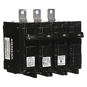 Bolt On Circuit Breaker, 40 Amps, Number of Poles:  3, 240VAC AC Voltage Rating