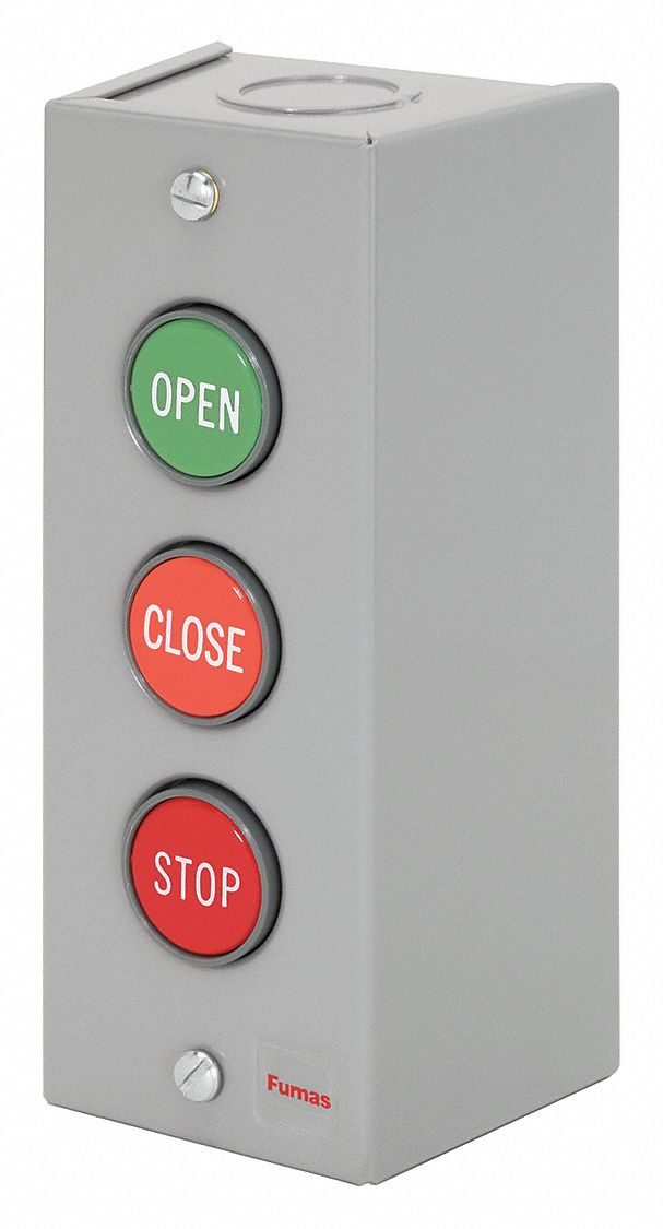 Water and Oil Tight Siemens 52C301A Heavy Duty Pushbutton Control Station 1 Momentary Flush Black REVERSE Labeled Pushbutton NEMA 3 Command Points 1 Momentary Raised Red STOP Labeled Pushbutton 1 Momentary Flush Black FORWARD Labeled Pushbutton