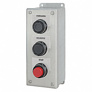 Push Button Control Station, 1NO/1NC Contact Form, Number of Operators: 3