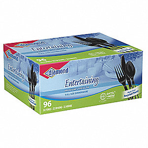 Polystyrene Spoon,Fork, and Knife Combo Set, Black&#x3b; PK1