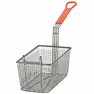 "6-3/8"" x 12"" x 5-1/4"" Mesh Nickel Plated Steel/ PVC Fry Basket, Orange Handle"