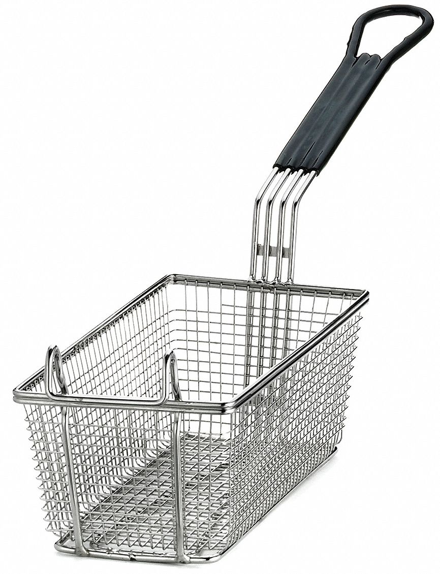 5-3/8 in x 11 in x 4 in Mesh Nickel Plated Steel/ PVC Fry Basket, Black Handle