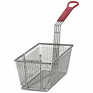 "6-1/2"" x 13"" x 5-1/4 "" Mesh Nickel Plated Steel/ PVC Fry Basket, Red Handle"