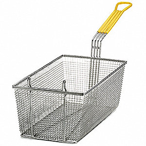 "8-1/4"" x 17"" x 6"" Mesh Nickel Plated Steel/ PVC Fry Basket, Yellow Handle"
