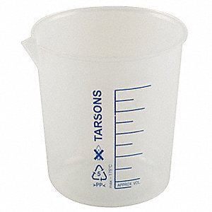 Plastic Low Form Beaker, Low Form, 20 to 100mL, 12 PK