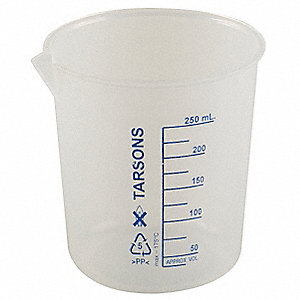 Low Form Beaker, Polypropylene, Capacity: 250mL, Graduation Subdivisions: 25mL