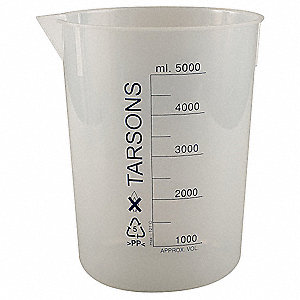 Plastic Low Form Beaker, Low Form, 1000 to 5000mL, 1 EA