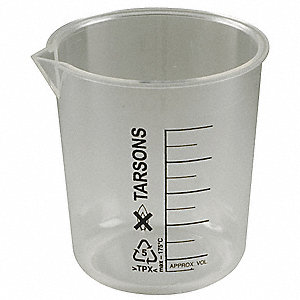 Plastic Low Form Beaker, Low Form, 10 to 100mL, 12 PK