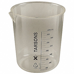 Plastic Low Form Beaker, Low Form, 100 to 1000mL, 3 PK