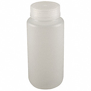 Wide Mouth Round Bottle, Reagent, Plastic, 250mL, Clear, 12 PK