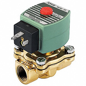 "24VDC Brass Solenoid Valve, Normally Closed, 1-1/2"" Pipe Size"