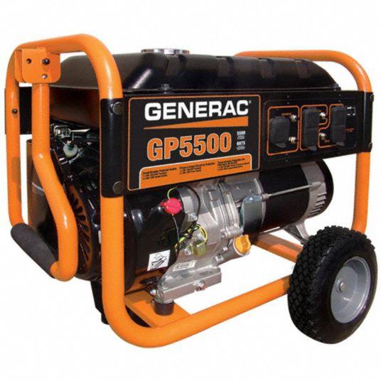 GENERAC Portable Generator, Conventional, Generator Fuel Type Gasoline,  Generator Rated Watts 5,500 W - 6FDK7 5939 - Grainger   Generac 5000 Watt Generator Wiring Diagram      Grainger