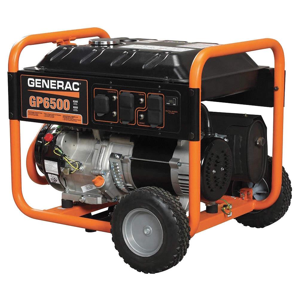 Recoil Gasoline Portable Generator, 6500 Rated Watts, 8125 Surge Watts,  120VAC/240VAC