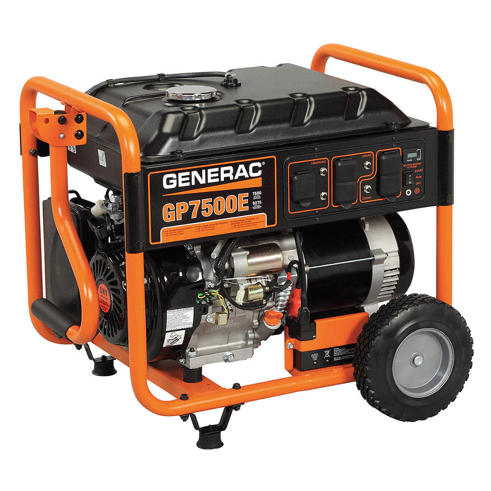 GENERAC Electric/Recoil Gasoline Portable Generator, 7500 Rated