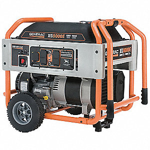 Portable Generator, 120/240VAC Voltage, 8000 Rated Watts, 10,000 Surge Watts, 66.7/33.3 Amps @ 120/2