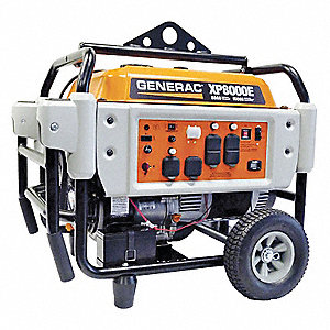 Electric/Recoil Gasoline Portable Generator, 8000 Rated Watts, 10,000 Surge Watts, 120/240VAC