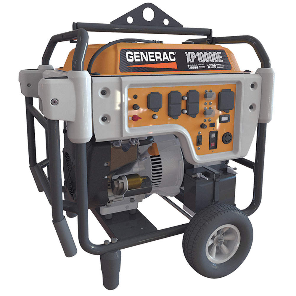 Electric Gasoline Portable Generator, 10,000 Rated Watts, 12,500 Surge  Watts, 120VAC/240VAC